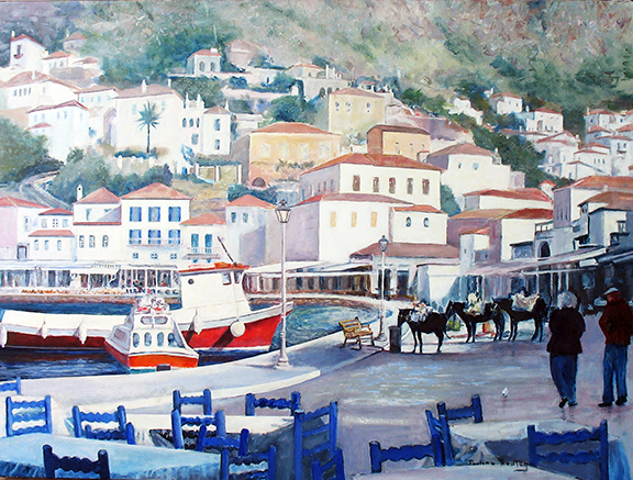 Painting of Greek Seafront